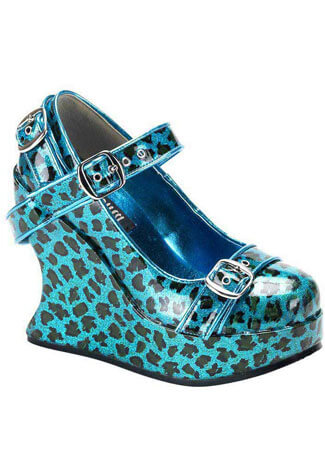 BRAVO-10 Turquoise Leopard Wedges - Clearance