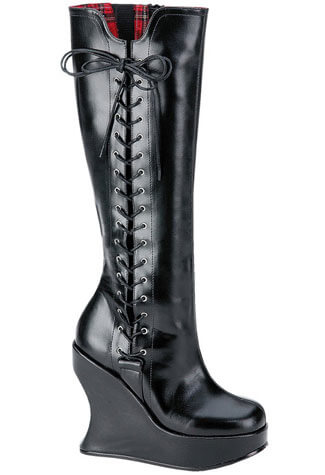 BRAVO-100 Black Wedge Boots