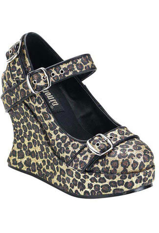 BRAVO-10G Glitter Leopard Wedges - Clearance