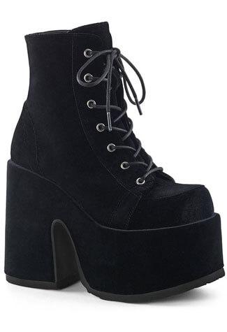 Camel-203 Black Velvet Platform Boots