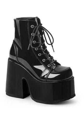 CAMEL-203 Black Patent Boots