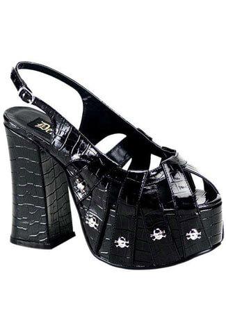 CHARADE-30 Black Skull Sandals