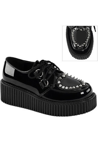 CREEPER-108 Black Heart Studded Creepers