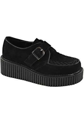 CREEPER-118 Black FauxSuede Creepers