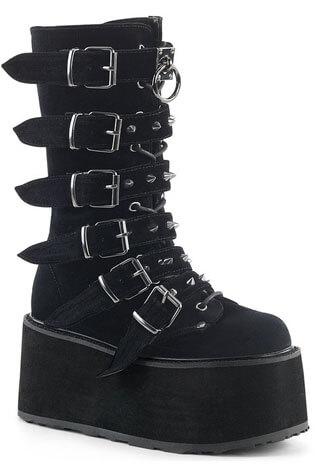 DAMNED-225 Black Velvet Platform Boots