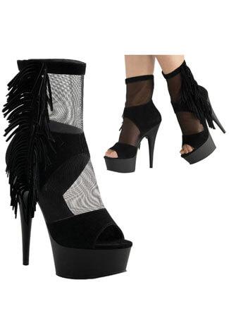 DELIGHT-1014 Black Fringe Boots