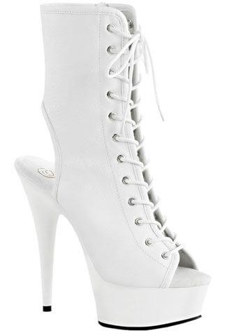 DELIGHT-1016 White PU Stilettos