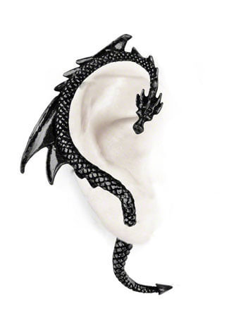 Dragons Lure Black Earring Cuffs