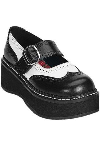 EMILY-302 Black White Maryjanes