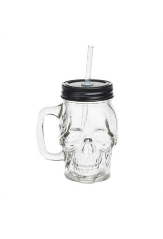 Glass Skull Drinking Jar