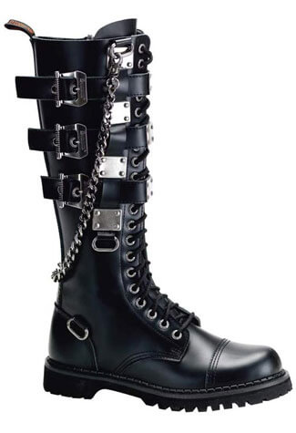 GRAVEL-23 Black Leather Boots