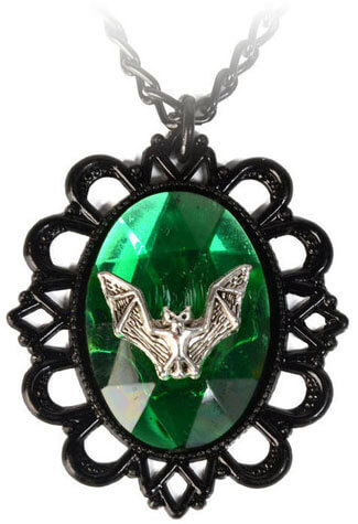 Green Bat Cameo Pendant