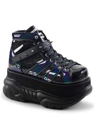 NEPTUNE-100 Black Glitter Platform Shoes