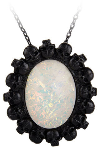 White Opal Skull Cameo Pendant Necklace