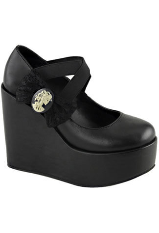 Poison-02 Black Platform Wedge