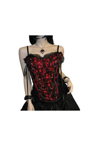 Tabatha Gothic Corset Satin Panel Red - Clearance