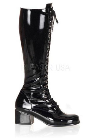 RETRO-302 Black Patent Boots