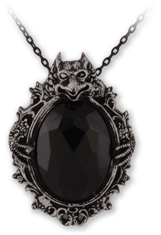 Shaw Silver Resin Gargoyle with Black Cabochon
