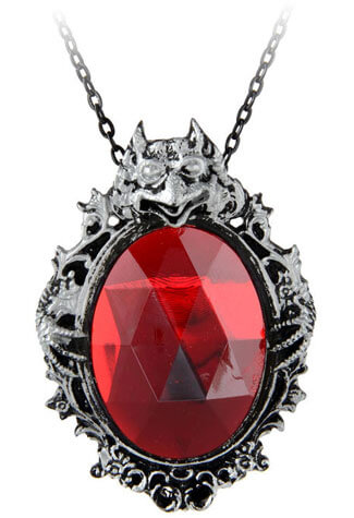 Shaw Red Stone Cameo Pendant Necklace