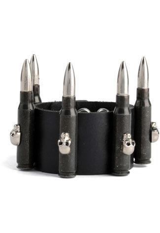 Skull Bullet Leather Wristband
