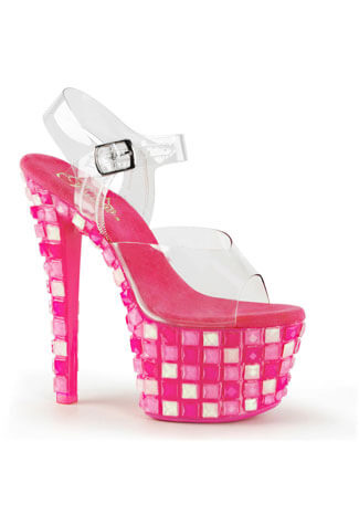 SKY-308UVTL Pink Retro Disco High Heels
