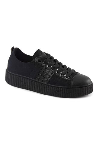 SNEEKER-107 Black Canvas Sneaker Creepers