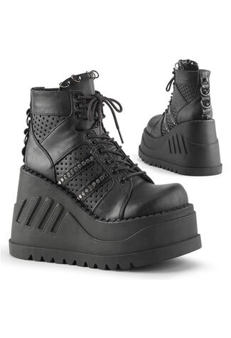 Stomp-12 Black platform wedge shoe