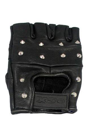 Studded Fingerless Leather Gloves