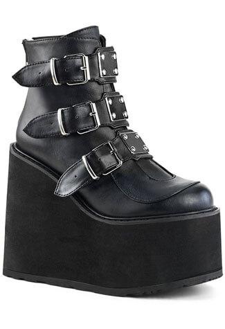 SWING-105 Black Vegan Leather Boots