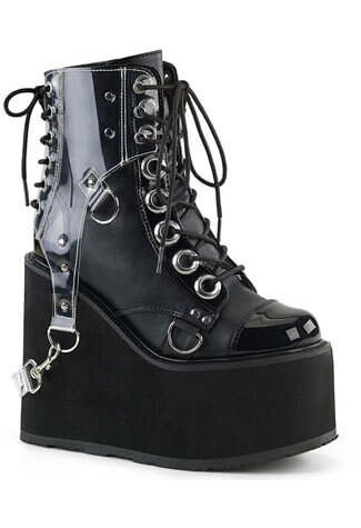 SWING-115 Wedge Platform Boots w/ PVC Harness