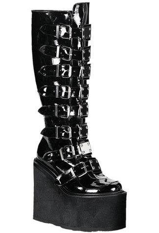 SWING-815 Black Patent Boots