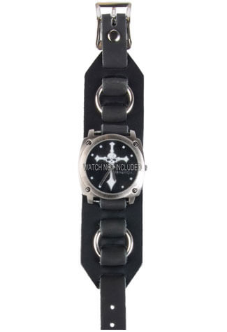 WB3R Black Leather Watchband