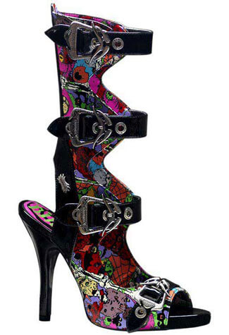 ZOMBIE-102 Black Graffiti Boots