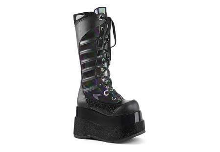 BEAR-205 Black Hologram Platform Boots