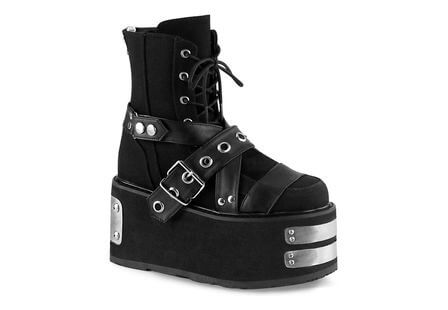 DAMNED-116 Black Canvas Platform Boots