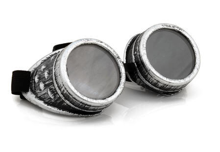 Distressed silver goggles