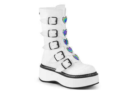 EMILY-330 White Mid-calf Boots