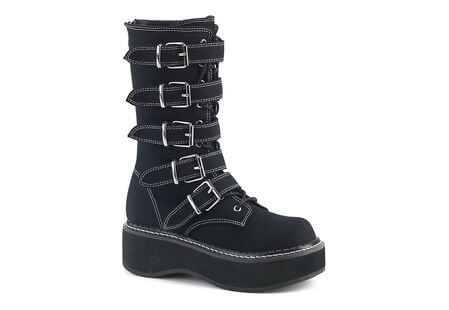 EMILY-341 Canvas Buckle Platform Boots