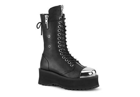 GRAVEDIGGER-14 Black Chrome Toe Platform Boots