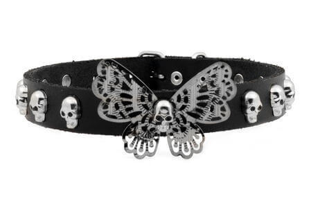 Leather Butterfly Filigree Choker