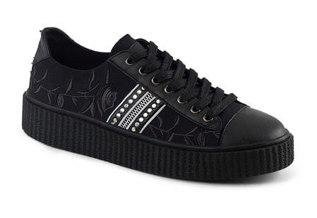SNEEKER-106 Rose Embroidered Sneaker Creepers