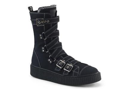 SNEEKER-318 Strapped Canvas Sneaker Boots