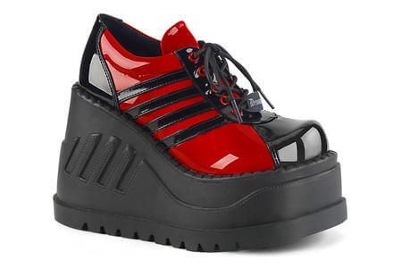 STOMP-08 Red and Black Platform Shoes