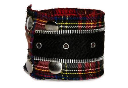 Tartan zipper bracelet