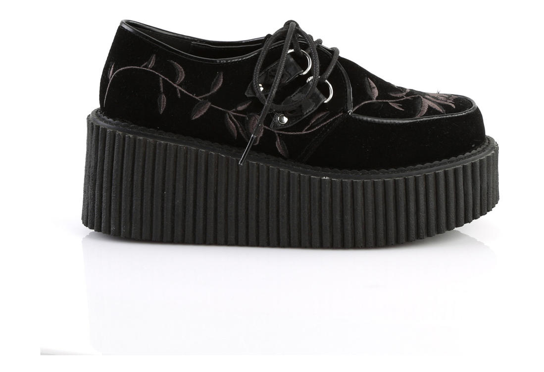 a294cc3f2f3 Velvet Embroidered Creeper Shoes alternate view