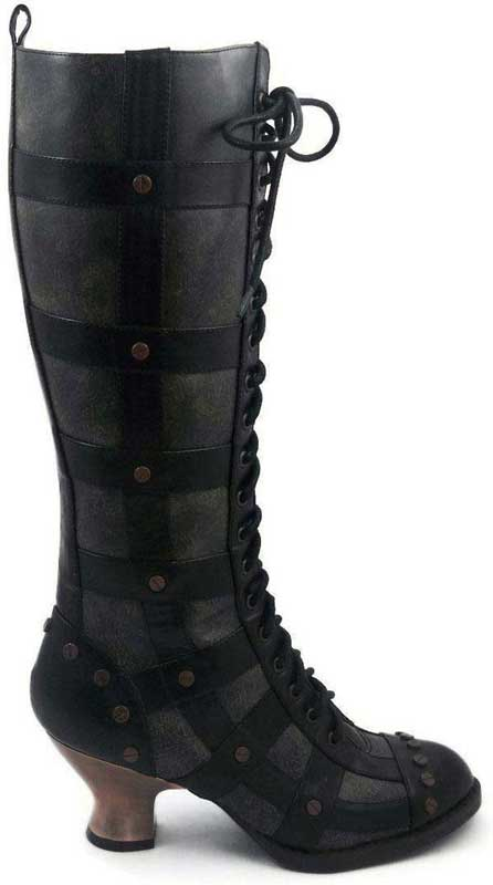 Black leather womens victorian bondage boots