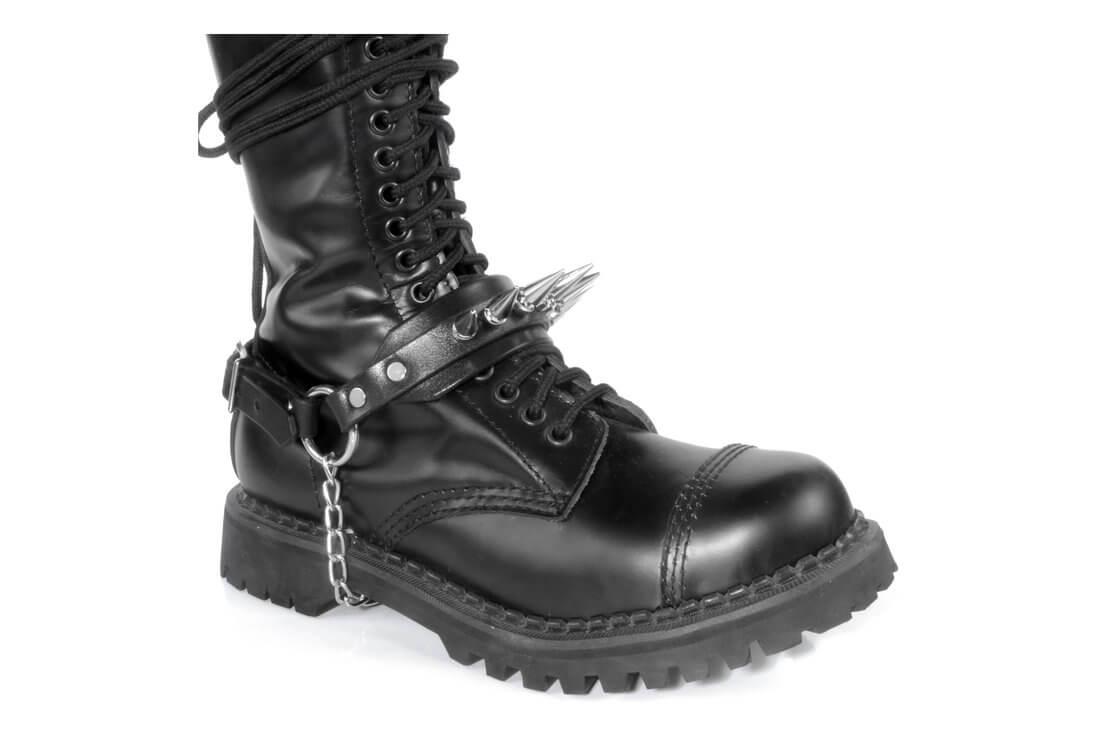 Genuine Leather Biker BULLET  Boot Straps w Chains Buckle Women/'s Men/'s PAIR NEW