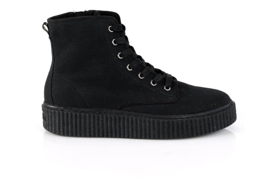 SNEEKER-201 - Black canvas sneaker boots