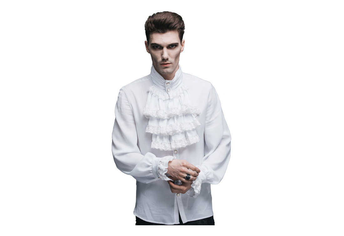 Ash mens gothic white ruffle shirt for Frilly shirts for men