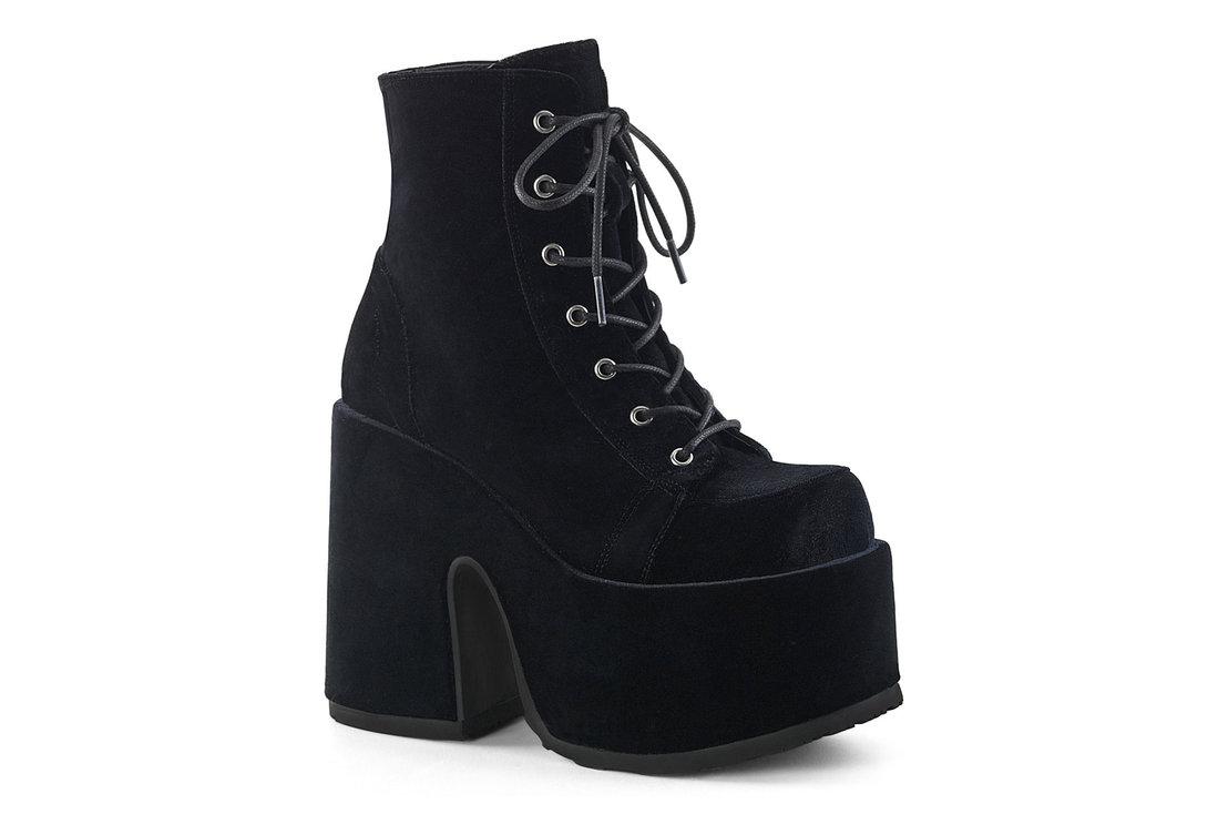 5272a22818d5 Camel-203 Black Velvet Platform Boots